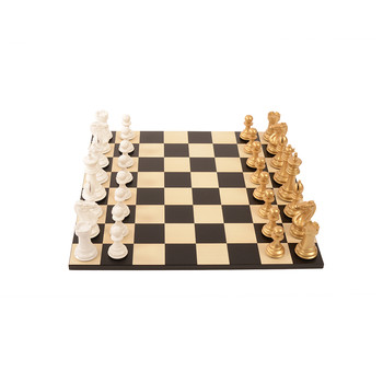 Bold Chess Set - Metallic Gold - v Gloss White
