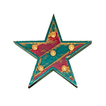 Fairground Star Sign - Small - Teal & Hot Pink