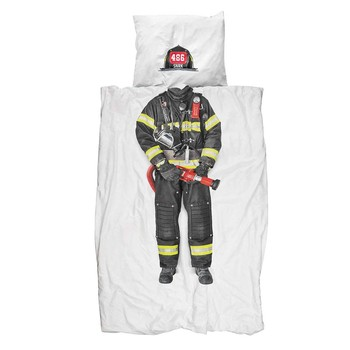 Firefighter Flannel Single Duvet Set
