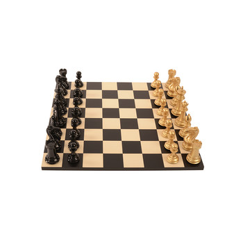 Bold Chess Set - Metallic Gold - v Shadow Black