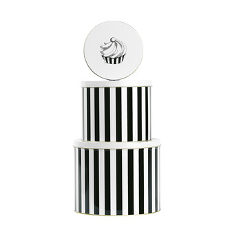 Round Tin - 'Cake' Black Stripe - Set of 3