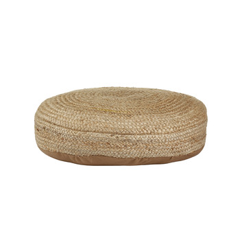 Braided Hemp Pouf - Washed Blue