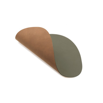 Reversible Table Mat Curve - Army Green/Natural