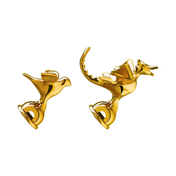 Bird & Dragon Shaped Whistles - Set of 2 - Gold