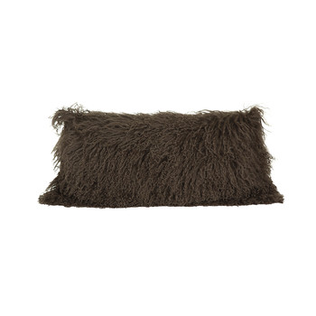 Tibetan Sheepskin Cushion - 28x56cm - Taupe