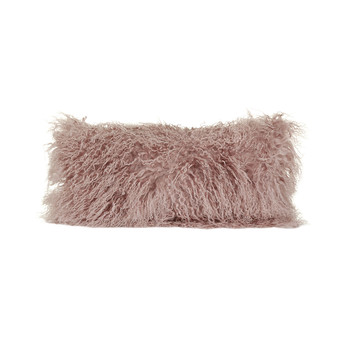 Tibetan Sheepskin Pillow - 28x56cm - Rosa