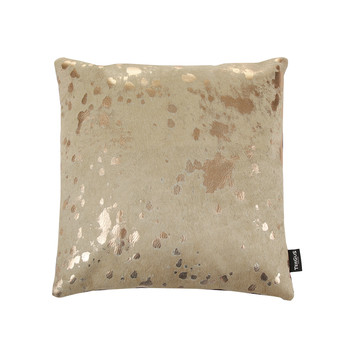 Acid Burnt Cowhide Pillow - 45x45cm - Beige/Bronze