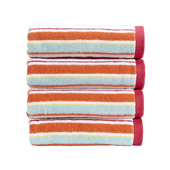 Portobello Stripe Towel - Deep Pink