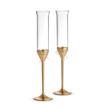 Love Knots Toasting Flutes - Gold