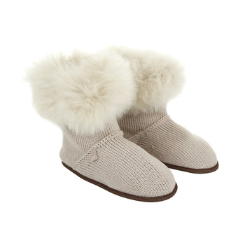 Alpaca Fur Edged Slippers - Oyster