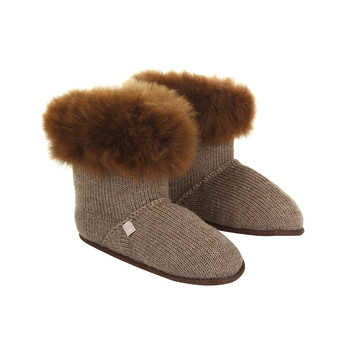 Alpaca Fur Edged Slippers - Nutmeg