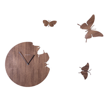 Large Butterfly Wall Clock - Walnut