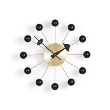 Ball Clock - Black & Brass