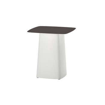 Metal Side Table - White base & Chocolate top