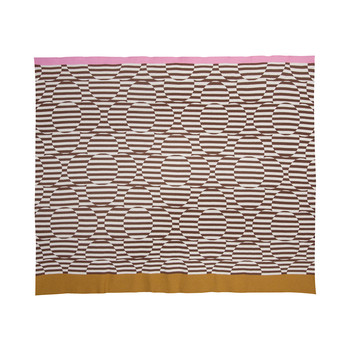 Stripe Flower Jacquard Throw - Nutmeg