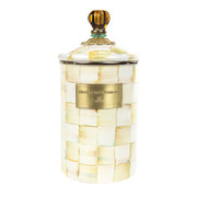 parchment-check-enamel-canister-large