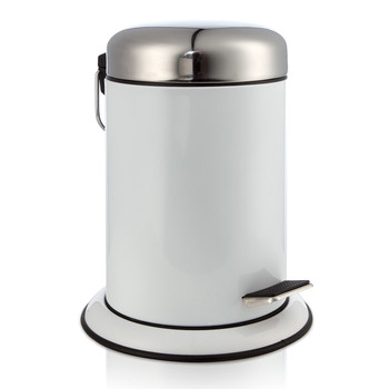 Metal Pedal Waste Bin - White