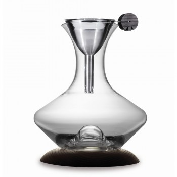 Optimum Decanter with Filter Funnel & Wooden Base
