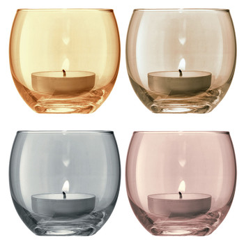 Polka Assorted Tealight Holders - Set of 4 - Metallic