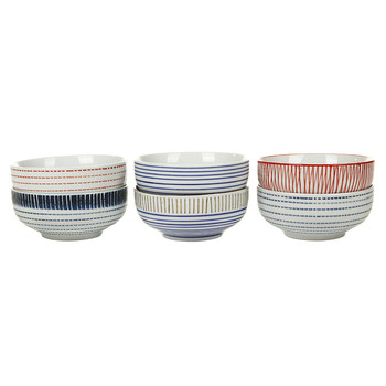 Block Stripe Bowls - Set of 6