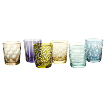 Mixed Cuttings Glass Tumblers - Set of 6