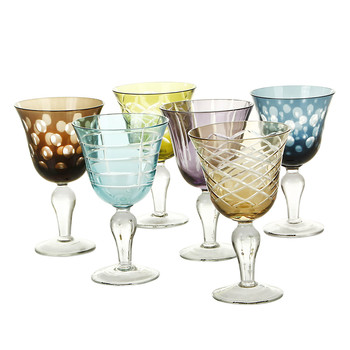 Mixed Cuttings Wine Glasses - Set of 6 - Multicolour
