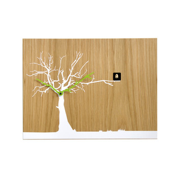 Cucuruku Wall Clock - Oak Wood/White