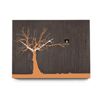 Cucuruku Wall Clock - Wenge Wood/Orange