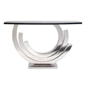 Revolution Console Table - Bright Nickel