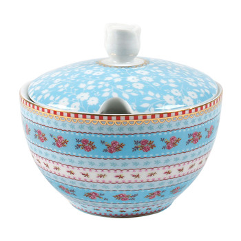 Ribbon Rose Sugar Bowl - Blue