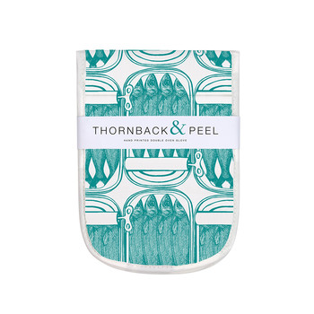 Sardine Tins Double Oven Mitts - Pale Blue
