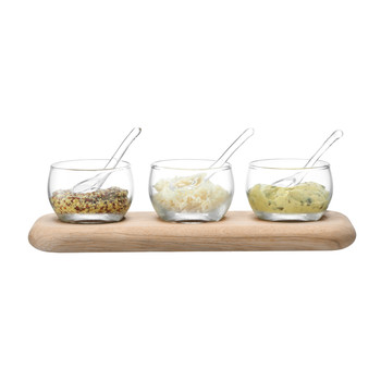 Server Condiment Set & Oak Base - Clear - L25.5cm