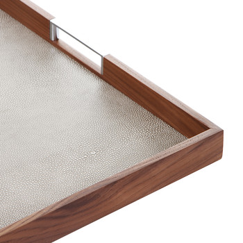 Walnut Tray with Smoke Faux Shagreen Base - 50x50cm