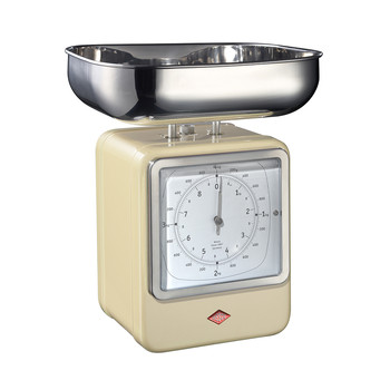 Retro Scale with Clock - Almond
