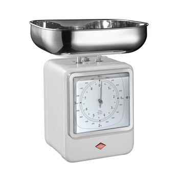 Retro Scale with Clock - White