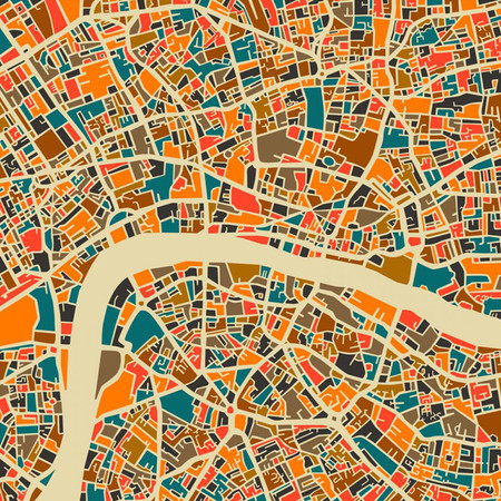 Monde Mosaic - Affiche London Map - 40x40cm