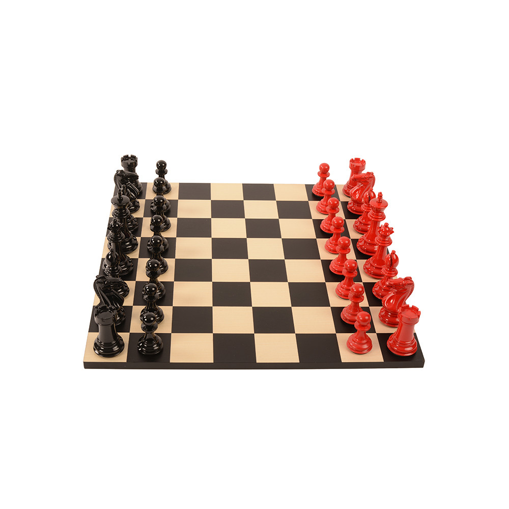 Purling London  Bold Chess Set  Classic Red  v Gloss White