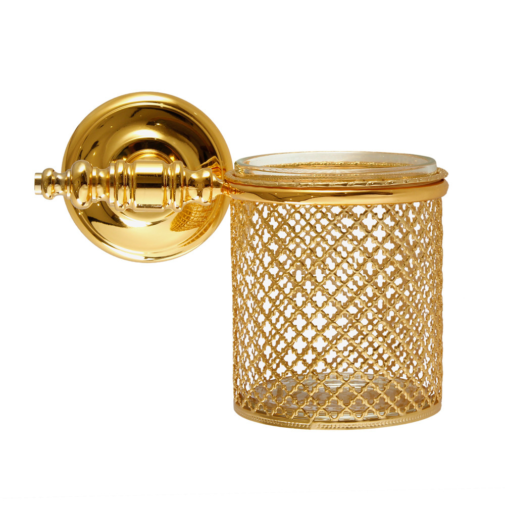 Buy villari firenze wall toothbrush holder full antique for Gold bathroom decor