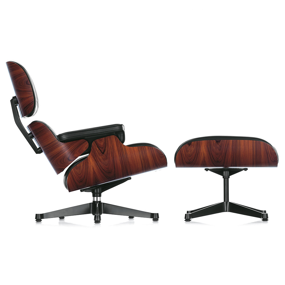 buy vitra lch xl eames lounge chair ottoman santos palisander black amara. Black Bedroom Furniture Sets. Home Design Ideas
