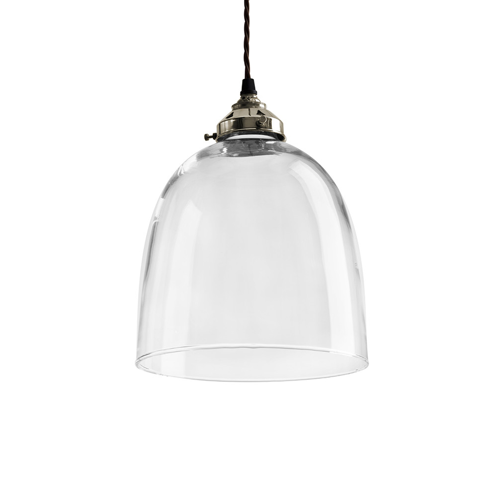 Buy Old School Electric Blown Glass Bell Pendant Nickel