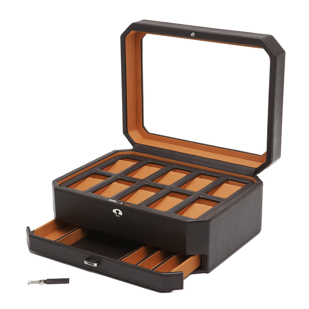 Wolf - 10 Piece Watch Box with Drawer - Brown/Orange
