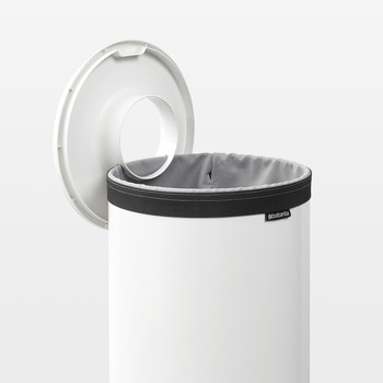Laundry Bin - White with White Plastic Lid