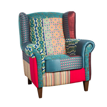 Patchwork Jacquard Armchair - Green