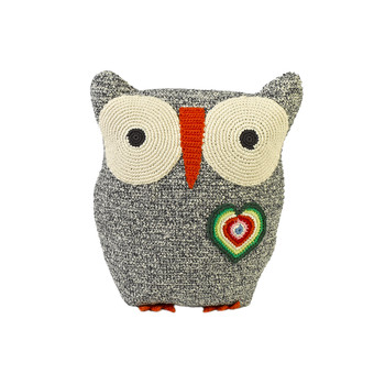 Crochet Owl Pillow - 30x25cm - Black