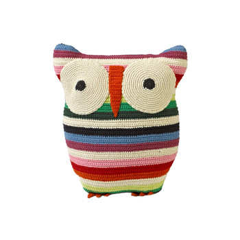 Crochet Owl Cushion - 30x25cm - Mix Stripe