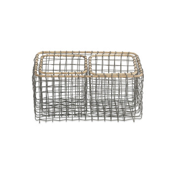 Bagato Wire Baskets - Grey & Wicker - Set of 3