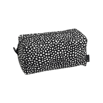 Dot Wash Bag - Black with White Dots