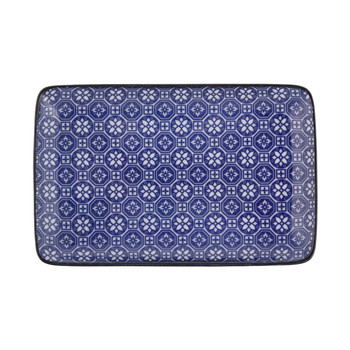 Nippon Blue Rectangular Plate - Flower