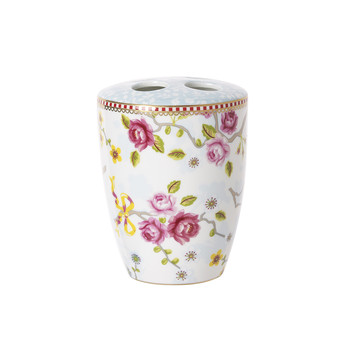 Chinese Blossom Toothbrush Holder - White