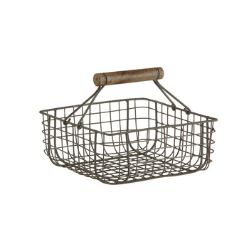 Alama Square Basket - Gray/Cream
